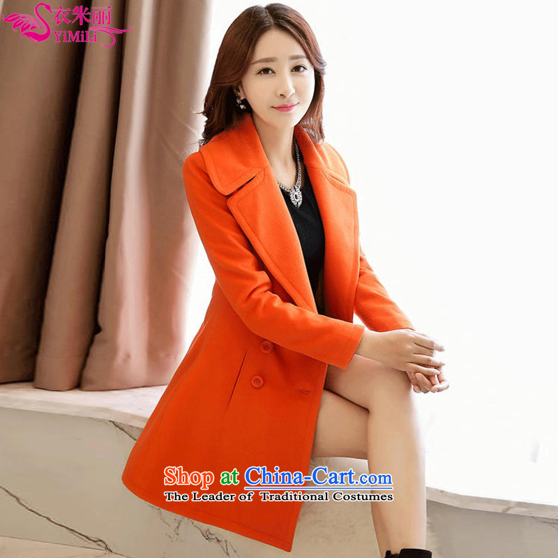 Yi Millies warm winter 2015 Korean double-a wool coat 829 Orange?XXL