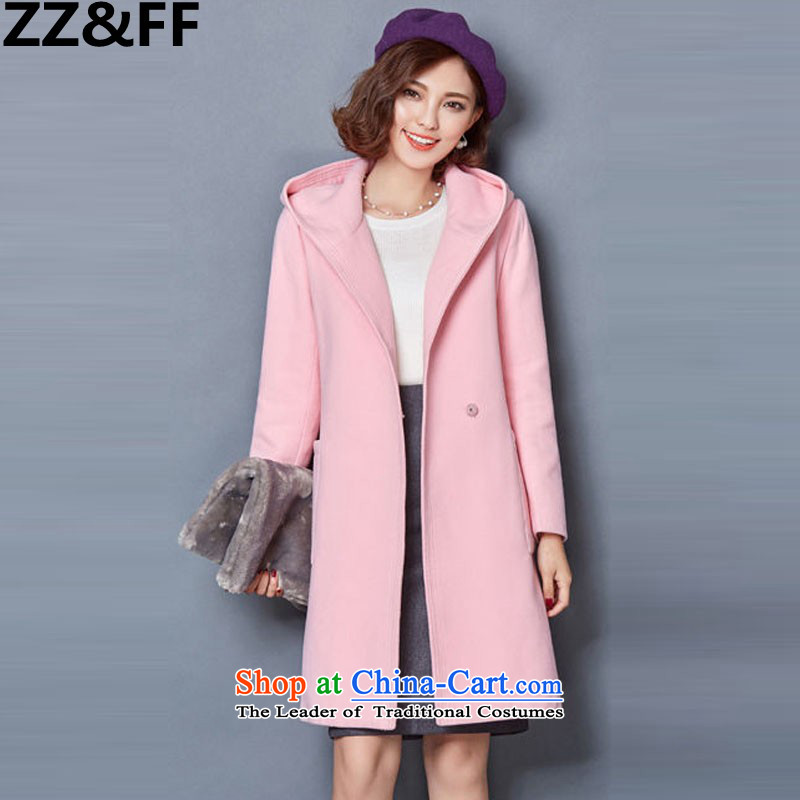 2015 Autumn and winter Zz_ff new stylish decorated Korean women who are long thin thickened graphics gross? overcoat�85爌ink燲L