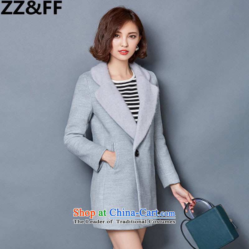 2015 Autumn and winter Zz_ff new stylish decorated Korean women who are long thin thickened graphics gross? overcoat�81燝ray燣