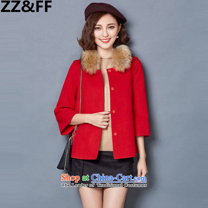 2015 Autumn and winter Zz_ff new stylish decorated Korean girl who video thin hair? overcoat1582RedS
