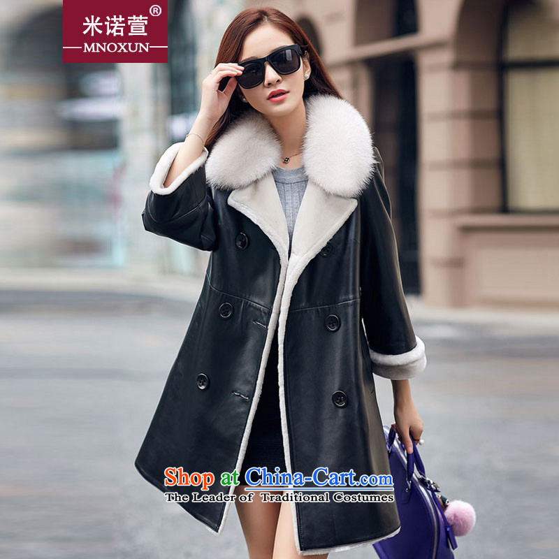 Mineau Xuan by 2015 winter long jacket coat fur grass lamb? K881?black?L