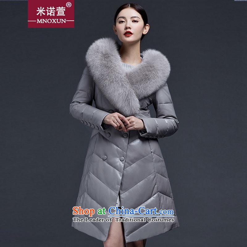 Mineau Xuan by 2015 winter in new long down jacketK882XXXL Light Gray