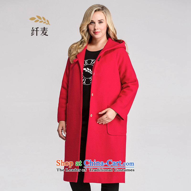 The former Yugoslavia Mak large high-end women 2015 Autumn replacing thick sister cap long jacket coat gross? 954181343 Red 4XL