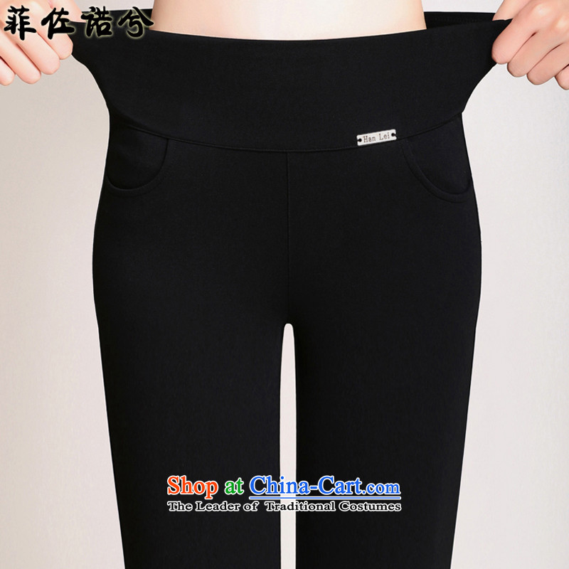 The officials of the fuseau larger ladies pants plus large-thick wool pants four face high Waist Trousers, forming the pop-gold lint-free warm black trousers 4XL 160-180 catty