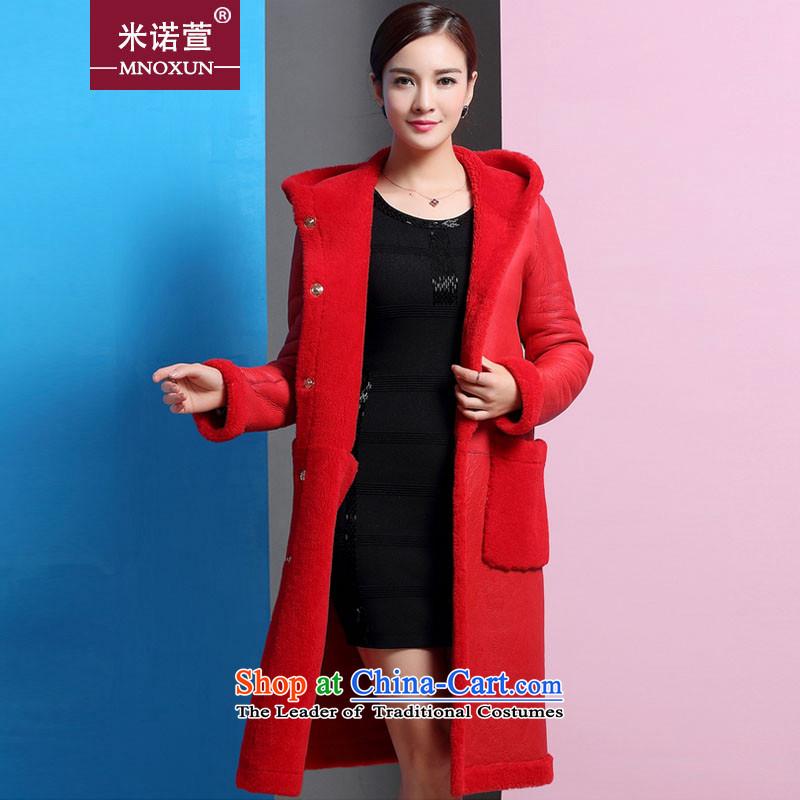 Mineau Xuan by 2015 new leather garments female coats that long fur coat?K879 one female?RED?M