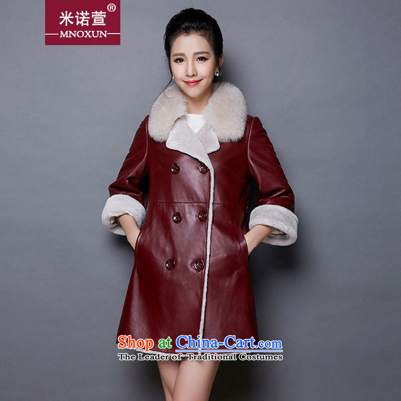 Mineau Xuan by 2015 winter long jacket coat fur grass lamb聽 K881聽wine red聽XXL