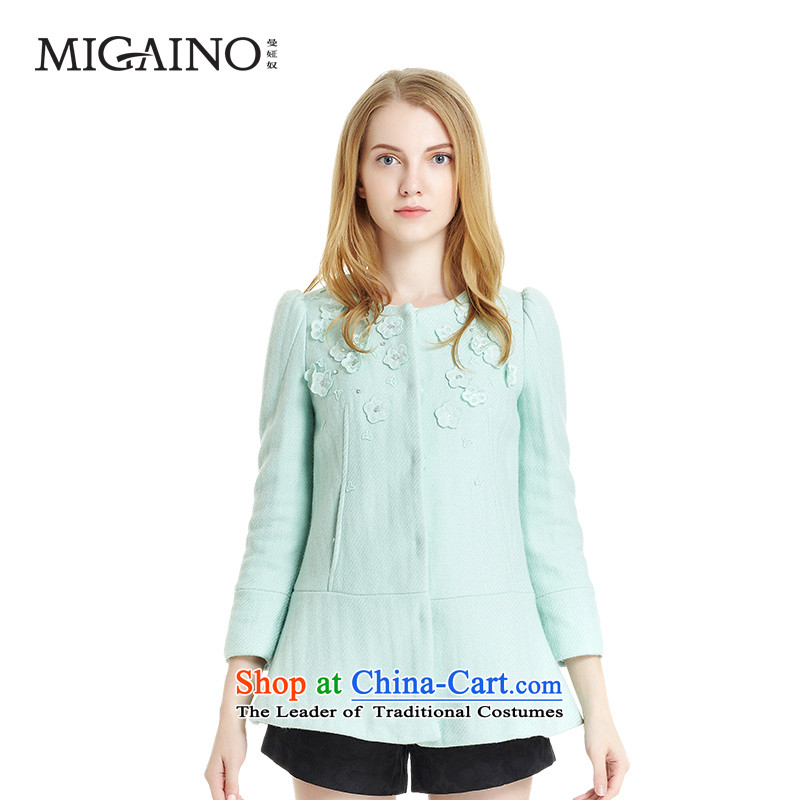 Claudia Mann slavery flagship store 2015 winter in Europe and the women's long coats and stylish look of Sau San Mao jacket female MD4GB305? Green M