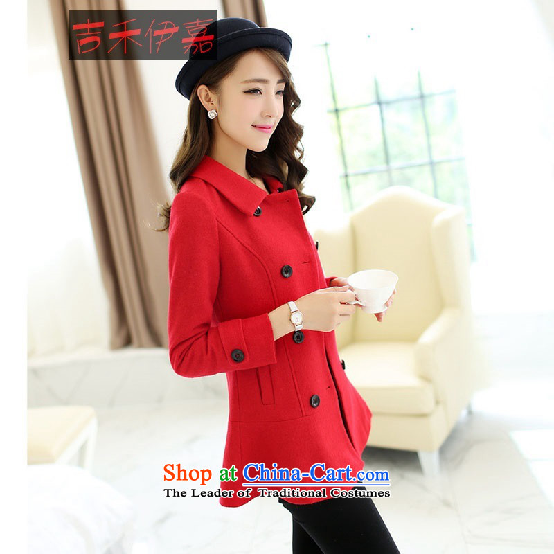 Gil Wo Ika 2015 winter clothing new sweet Mrs Fong Women's temperament in elegant jacket, college jacket, red gross?燤