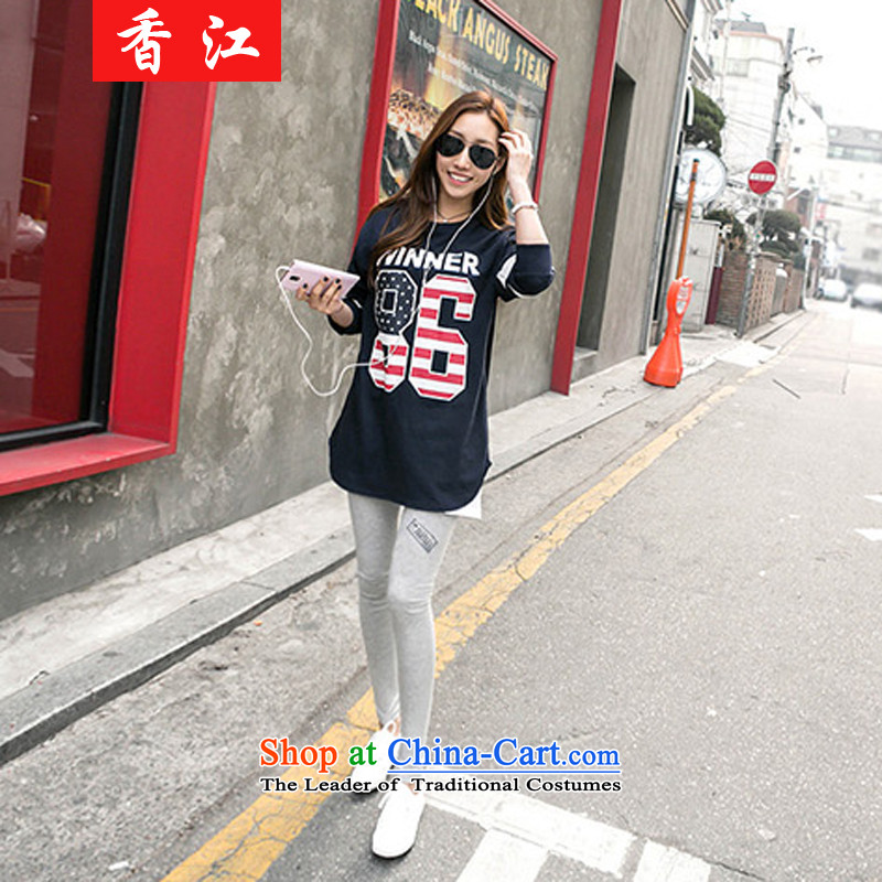 Xiang Jiang Fall_Winter Collections thick sister larger women wear thin shirt loose video 200 catties thick mm sweater pants and two piece T-shirt shirt Kit�8爊avy blue blouse female + Light gray trousers larger 5XL