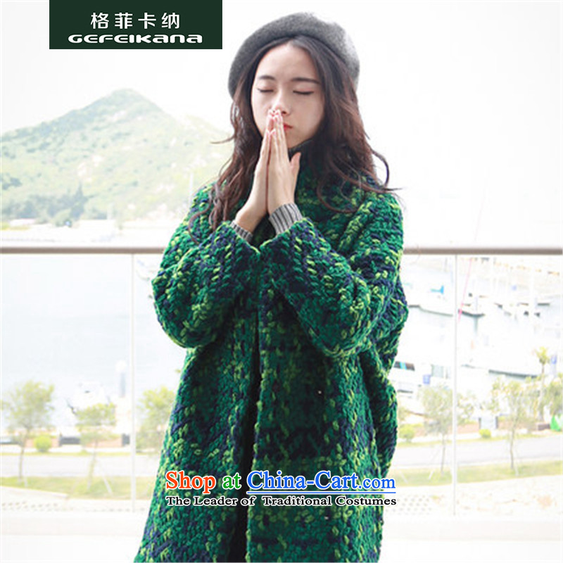 Guffy, gross? 2015 autumn and winter coats of Korean new women's loose video thin latticed coats that long thick hair? jacket female navyM