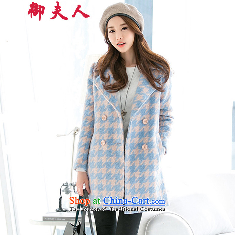 Mrs. Mercy in long coats gross? female 2015 autumn and winter decorated in a thick Korean Chidori Grid version? Jacket Color pictures gross燣