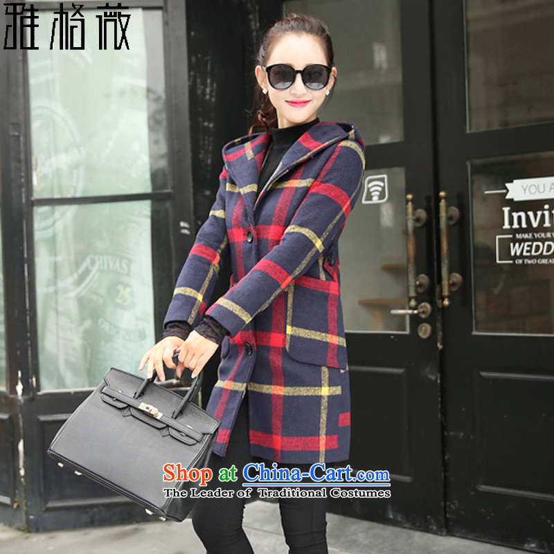 Jagueux Ms Audrey EU gross? 2015 autumn and winter coats female New England style terminal in the college of Sau San with cap a wool coat female red XL