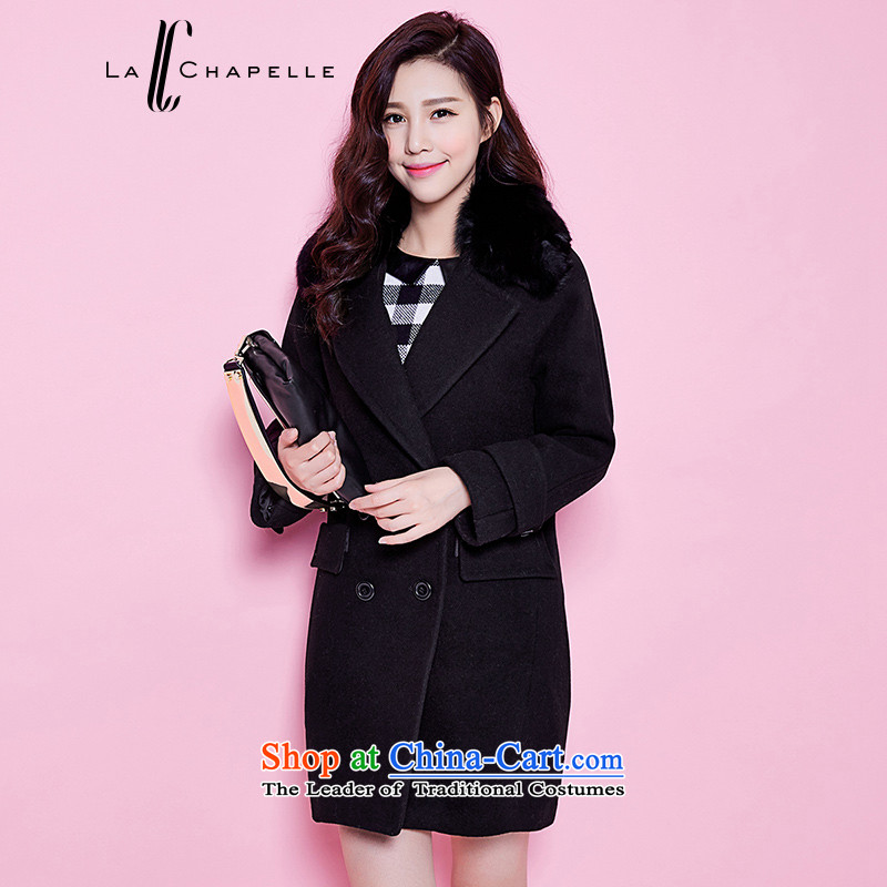 La Chapelle winter new suit for long-sleeved in gross long hair loose coat of atmospheric female black燣?