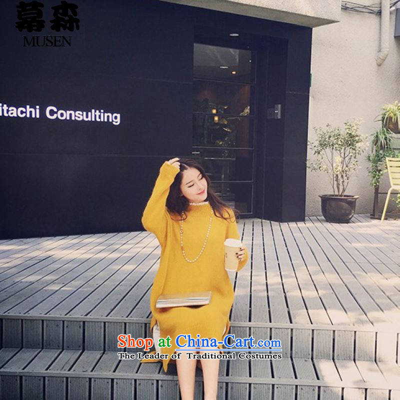 The2015 autumn and winter large sum for women of the forklift truck knitting sweater thick loose video forming the thin in long wool jumper 200 catties can penetrate yellow are code