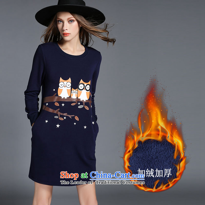 Larger Female European station 2015 new fat mm Fall/Winter Collections long-sleeved shirt thick sister stamp forming the lint-free thick dresses and forming the long-sleeved Sau San package blue skirt XL recommendations 95-115 sq/catty