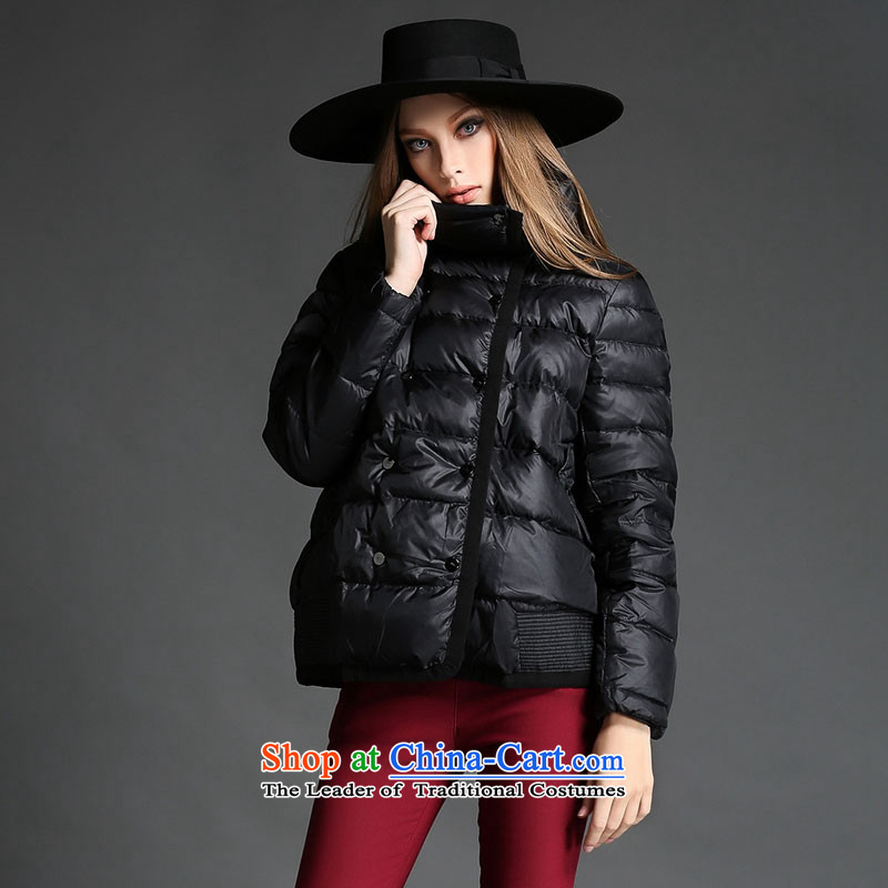 2015 winter clothing western new products new thick sister thick xl female jackets, cotton short cotton coat thick mm thick person video thin to Sau San 茫镁貌芒聽5xl black jacket