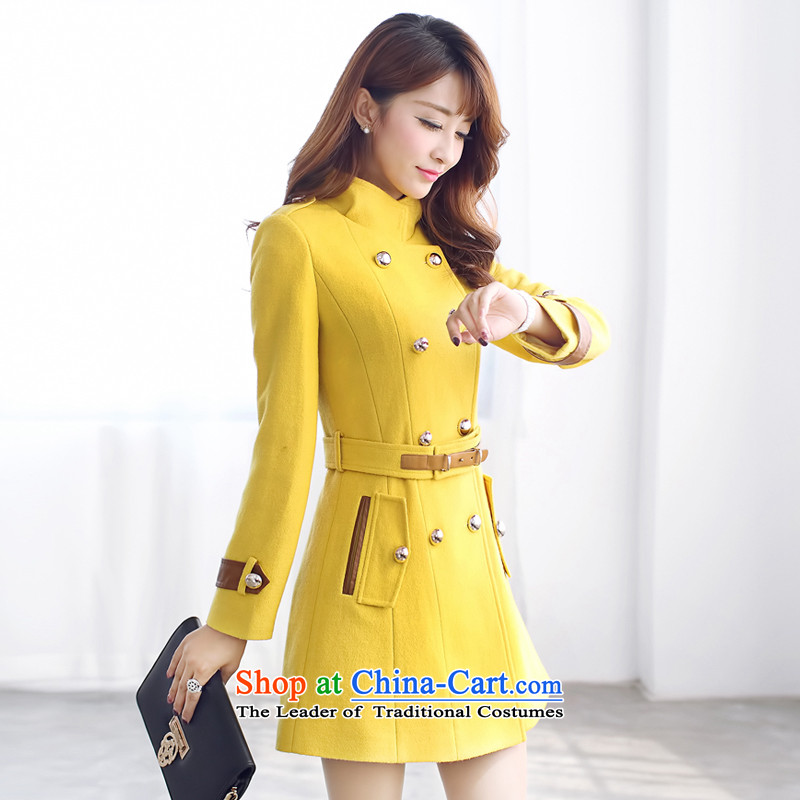 8In Pak Long Jacket coat gross? female Wong mustard yellow燬