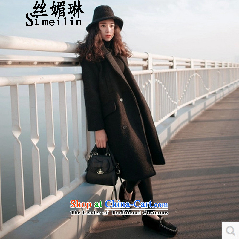 The population of autumn and winter 2015 Lin New Western gross jacket female wool?? coats that long, thick black jacket relaxd S