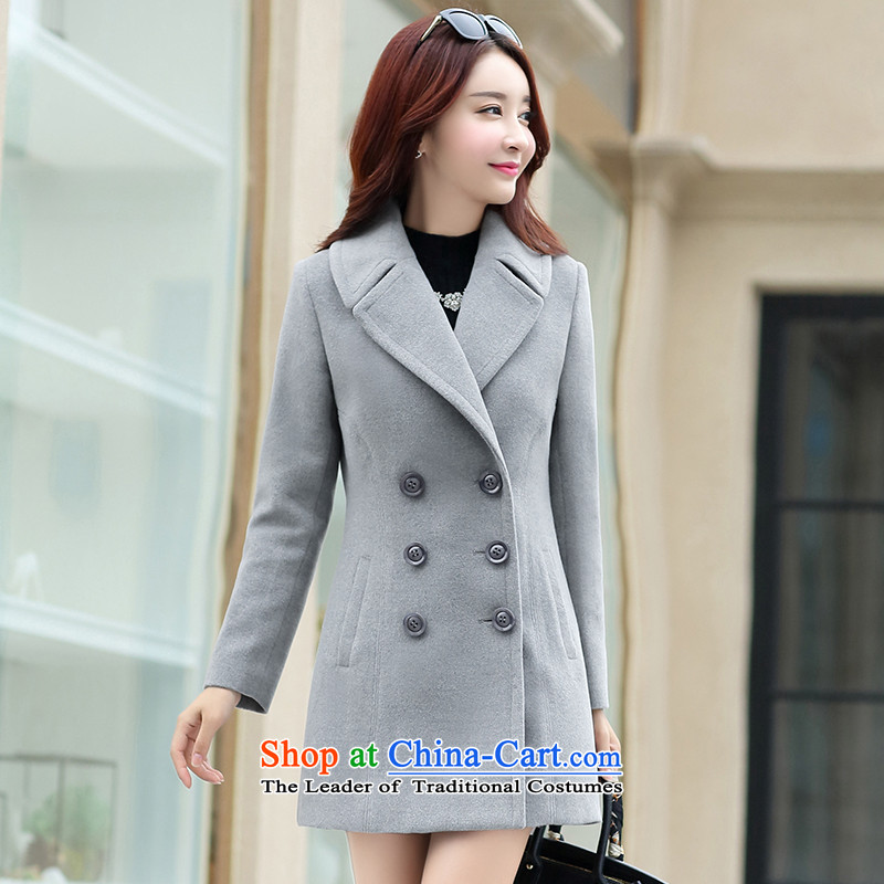 8po autumn and winter new products long-sleeved lapel Sau San temperament gross gray jacket? XL