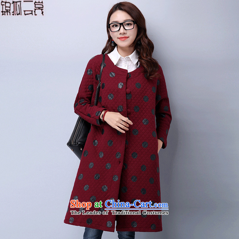 Kam Fox Ella 2015 winter clothing new larger female clamp cotton knit shirts windbreaker coats that long stamp leisure plus cotton jacket WT29 wine red M