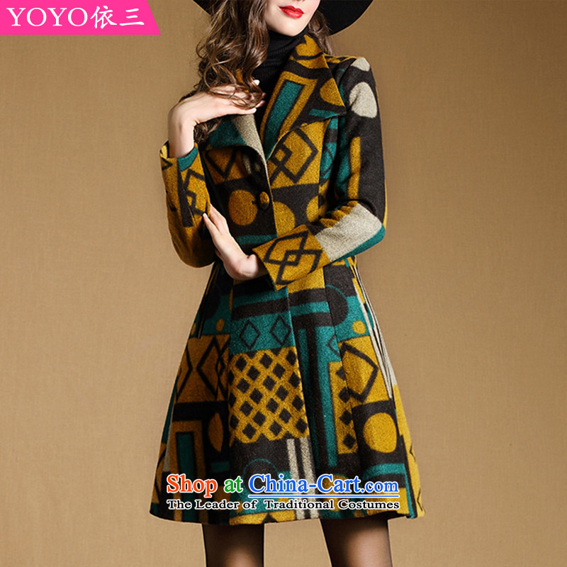 The YOYO optimization with 2015 Winter New Stylish retro plane collision color jacket coat gross stamp? V1847 picture colorXL