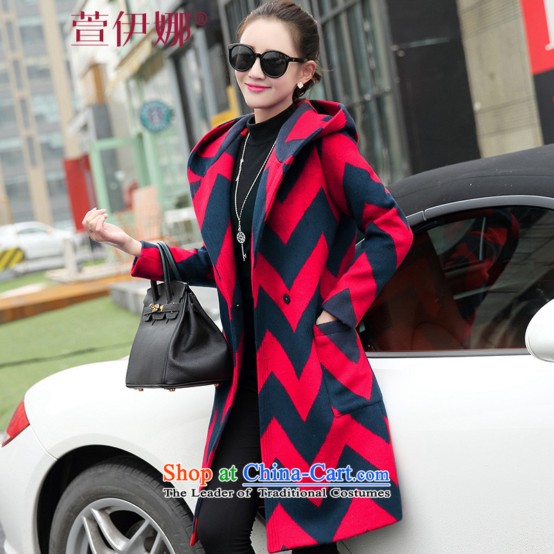 Xuan ina 2015 autumn and winter coats new gross? female jacket, long streaks in the stylish Korean cap windbreaker female RED燤