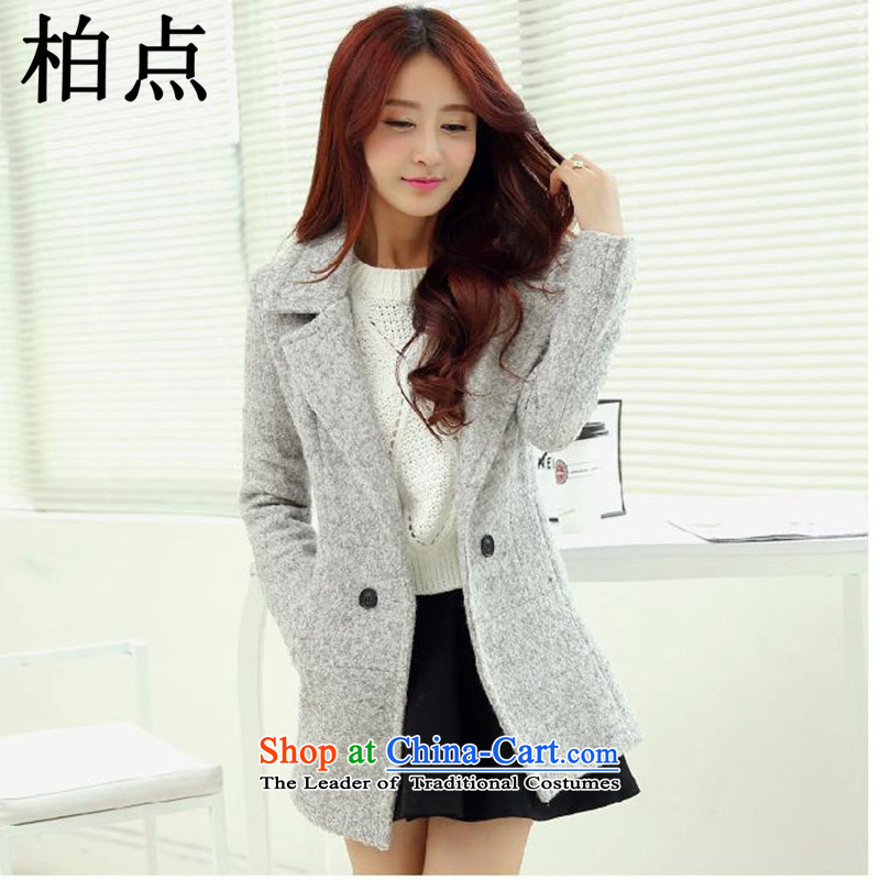 Pak 2015 autumn and winter point new stylish jacket coat of Sau San? female 1018B gross Gray?L