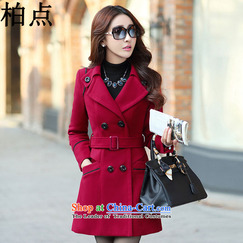 Pak point gross? female 2015 Autumn jacket for women Fall_Winter Collections new Korean long hair in Sau San? wine red cloak female 9600B XL