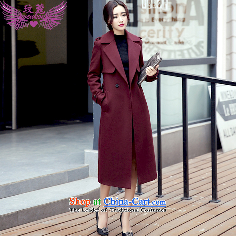 Coco Lee Coe female jacket coat gross? 2015 autumn and winter female double-long a windbreaker female Q5D wine red M