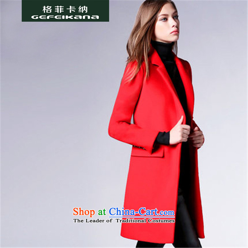 Guffy, gross? 2015 autumn and winter coats girl with a new women's body suit for decoration warm jacket coat a gross in long European site REDM