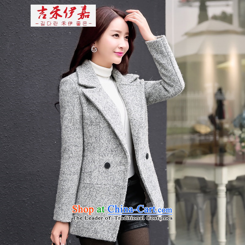 Gil Wo Ika 2015 new gross girls jacket? Long Fall_Winter Collections Korean women's young son lounge light gray overcoat燤