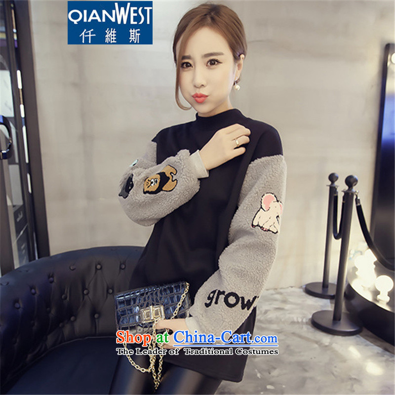 In2015, 5,000 to increase women's code thick sister sweater spell color round-neck collar kit and loose fit long-sleeved sweater College wind jacket 6356 Black3XL145-165 recommended weight catty