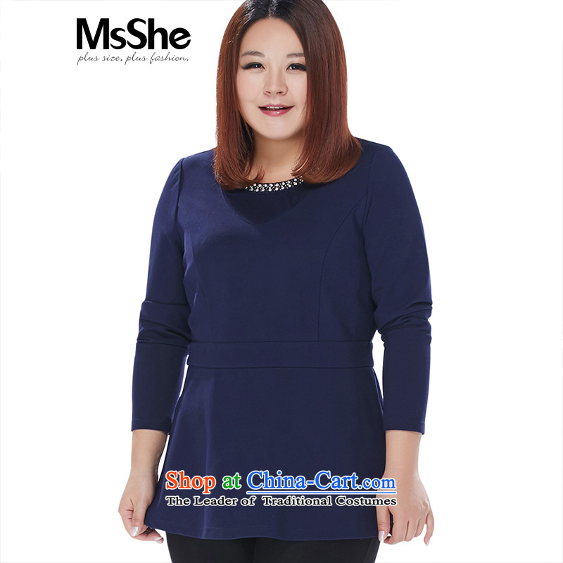 The Ventricular Hypertrophy code msshe women 2015 new winter clothing, round-neck collar nails with a small bead thick clothes 10867 MM blue 3XL