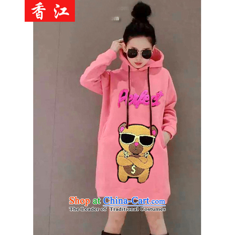 Xiang Jiang 2015 winter clothes for larger female jackets thick mm plus sweater skirt thick wool tops to increase expertise in a sister long sweater 5710 Cubs pink larger 5XL