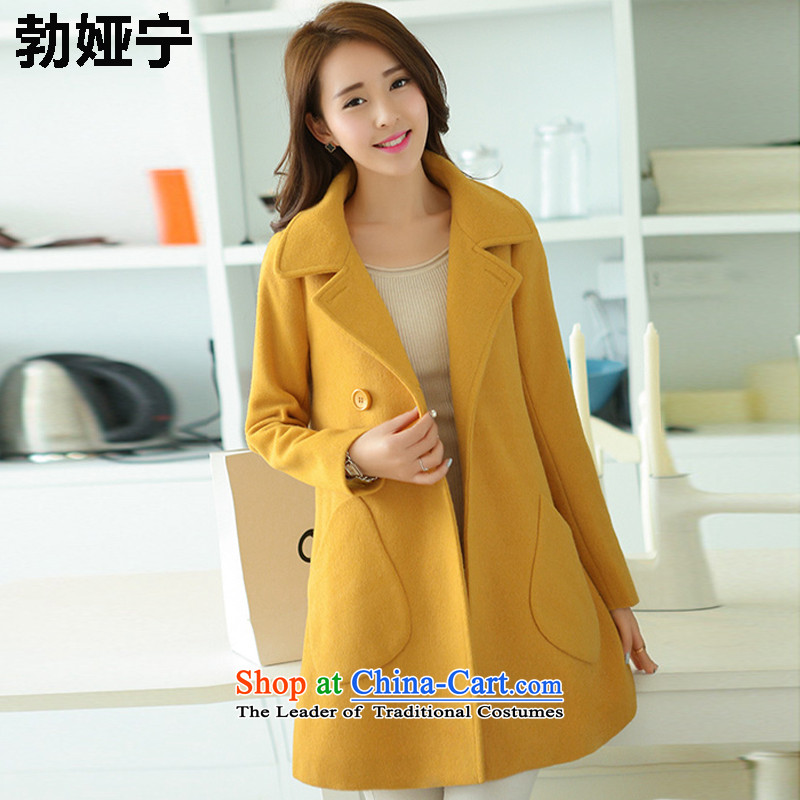 Buck Mulligan Ah Ning 2015 Fall_Winter Collections new Korean women who are in long jacket coat gross? female 8,019 ex yellow燣