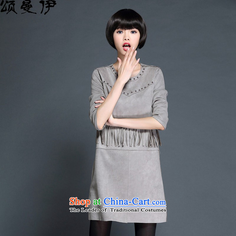 Chung Cayman El�15 autumn and winter new Korean version of Fat MM larger female stream Su Yu nail deerskin lint-free thick dresses�-73 13燝ray燲XL