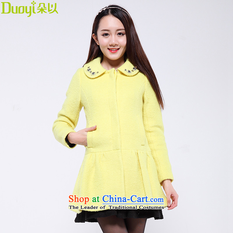 Flower to 2015 winter clothing new Korean sweet temperament petticoats wool coat female autumn and winter? 30DD71227 LEMONADE WONG L