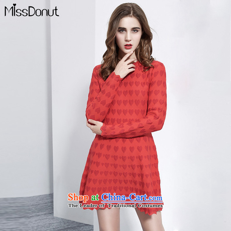 To increase the number missdonut female autumn and winter dresses long-sleeved thick sister 200 catties of Europe and the thick, thin large graphics knitting dress code red Solid 7XL