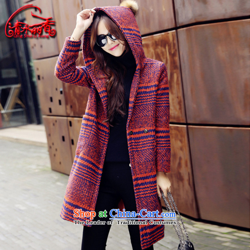 Clearwater Lai Hsiang gross? 2015 winter coats female new women in Korean long hair Sau San? coats 9867X female Red Orange?L