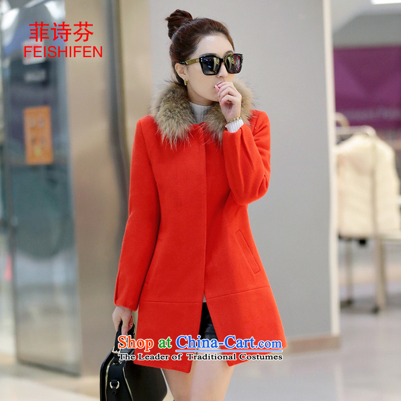 The Philippines?2015 autumn and winter fun, poetry new women's gross? coats that long thin nagymaros for Sau San graphics plus cotton thick hair? jacket orange?M