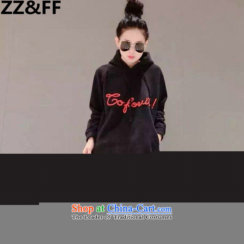 2015 New Korea Zz_ff version to xl autumn and winter female thick MM200 catty the lint-free video in thin long thick, sweater Black聽XL