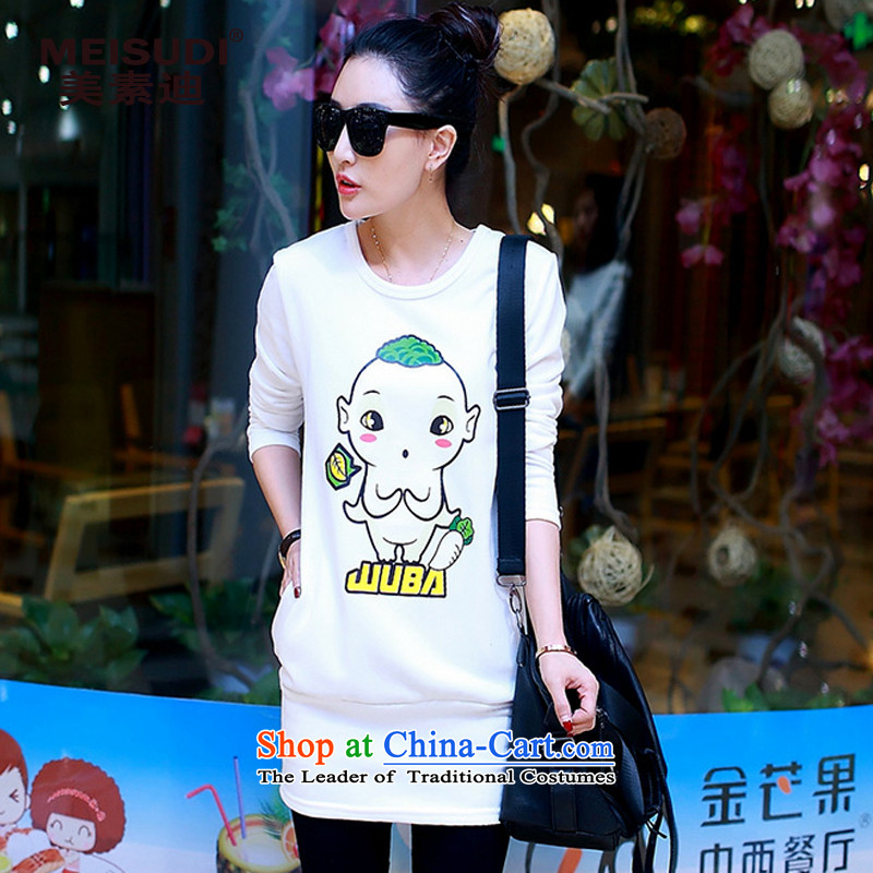 2015 Autumn and Winter Korea MEISUDI version of large numbers of ladies' blouse cartoon stamp loose video plus lint-free in the thin-thick solid long sleeved clothes white long-sleeved T-shirt4XL
