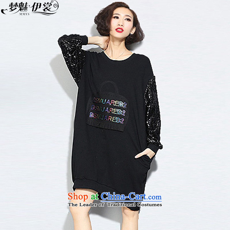 The staff of the Advisory Committee this autumn and winter load thick mm to increase women's code in forming the long long sleeved clothes yi skirts thick plus black sweater, lint-free will loose