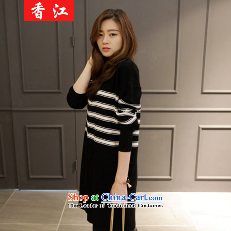 Xiang Jiang 2015 large female autumn and winter new to increase the burden of Knitted Shirt sweater 200 thick sister dresses long shirts, forming the Netherlands picture color large code causing 546.5 5XL