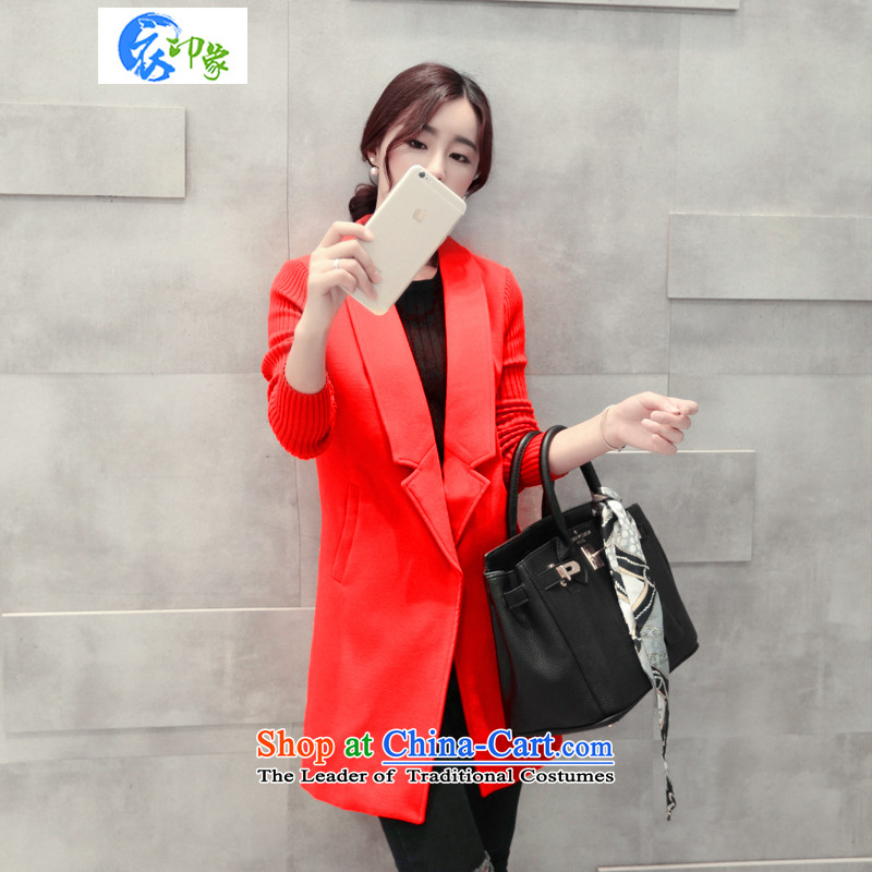 Yi impression of爓inter clothing new 2015 female Korean version of the long-sleeved sweater knit wool coat female video? Thin red windbreaker燲L