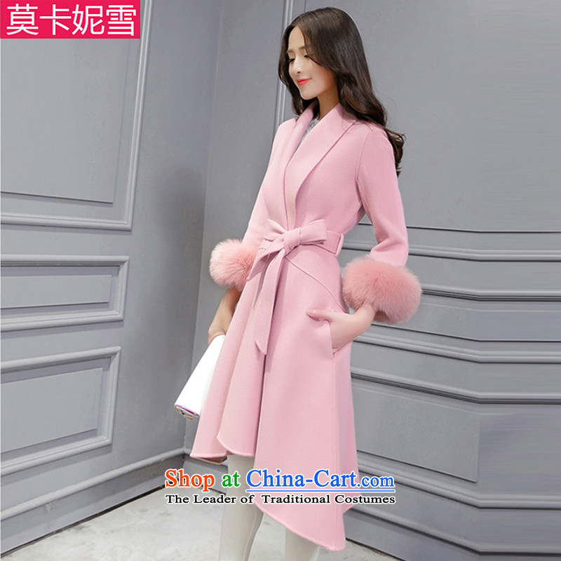 Morcar Connie snow in� winter 2015 new Korean fashion v-neck autumn and winter coats that? long hair? jacket of carmine Sau San toner燬