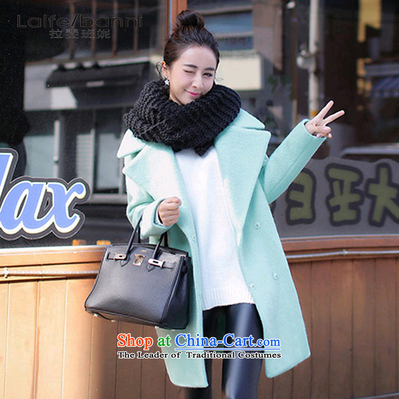 Rafael CORREA Vanina 2015 autumn and winter new gross girls jacket? Long Korean small fresh thick a wool coat mint green L