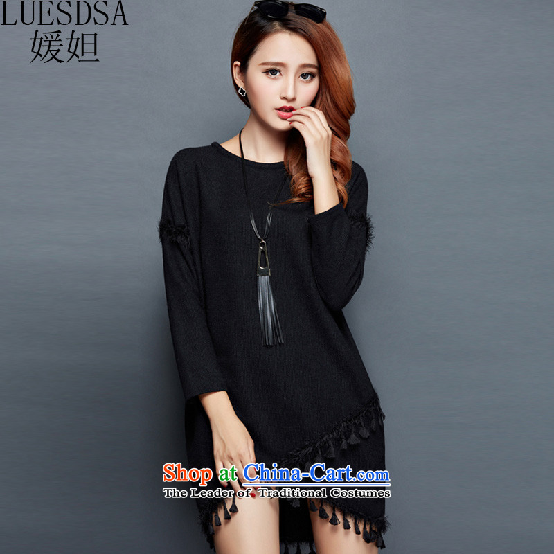 Yuan slot in the 2015 winter clothing new Korean Edition to increase the number of women with loose black poverty graphics plus mm thin thick wool thick knitwear dresses YD715?3XL black