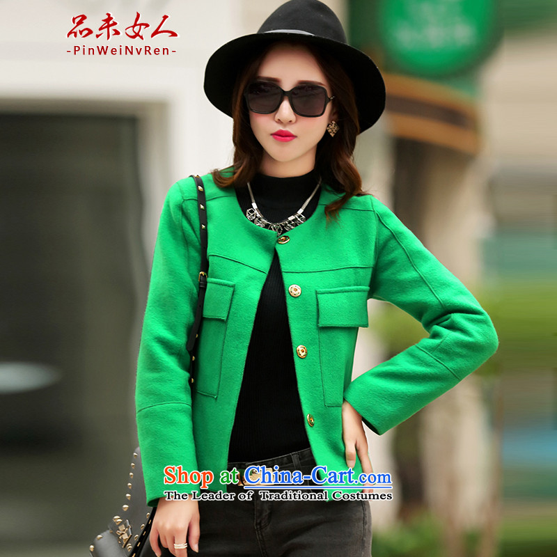 Products not woman winter 2015 new women's small-wind round-neck collar gross shortage of female jacket? Korean Sau San video thin long-sleeved T-shirt and a female green M