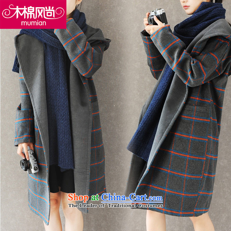 The Kapok?168_2015 fashion autumn and winter new Korean large grid in reverse collar long cap gross gray jacket is  ?L